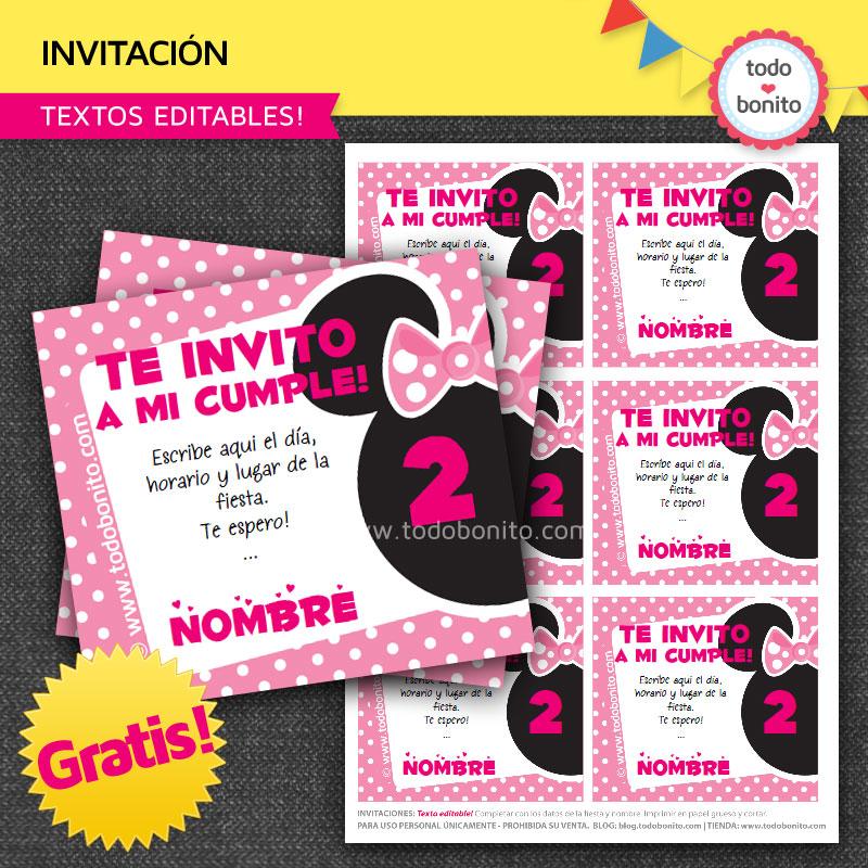 """Invitaciones para imprimir gratis """"inspiradas"""" en Minnie Mouse"""