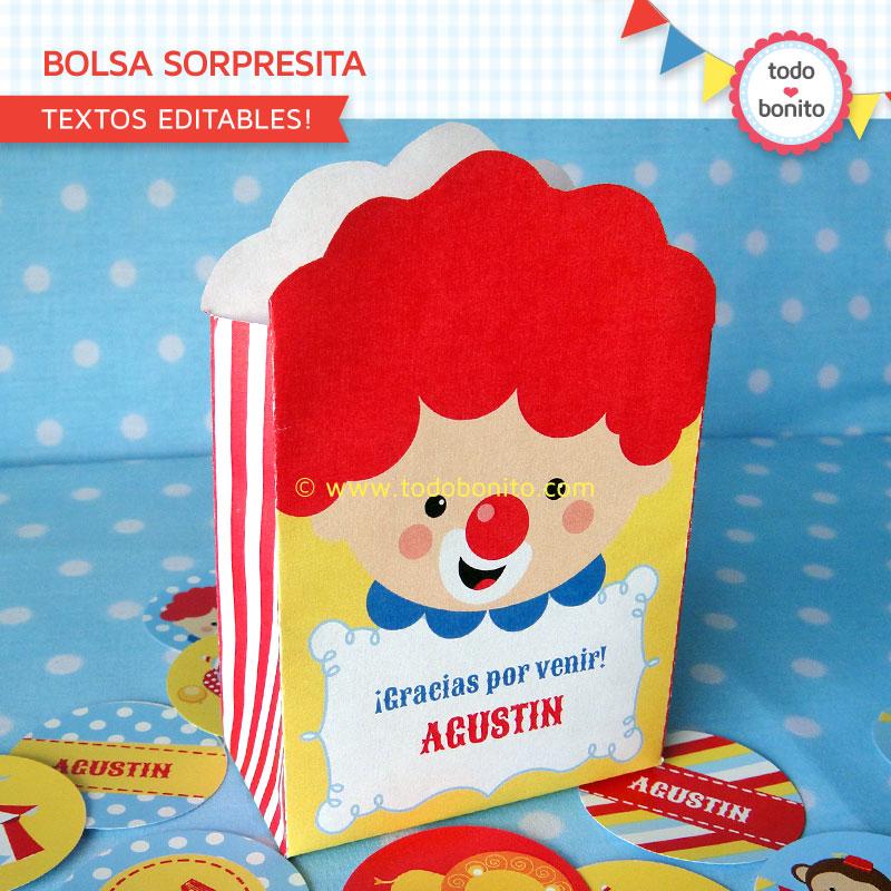 Bolsa sorpresita Kit imprimible Circo Niños Todo Bonito