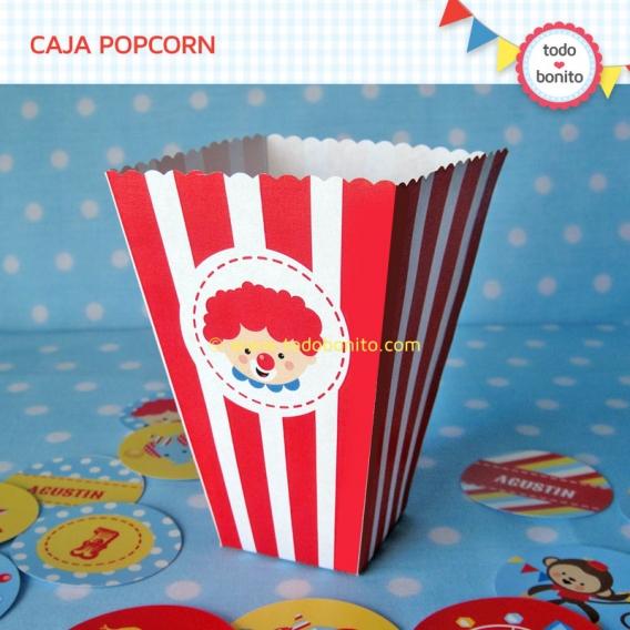 Caja Popcorn imprimible Kit Circo Todo Bonito