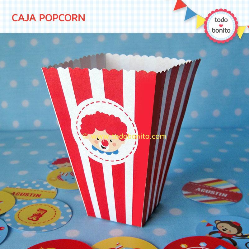 Caja PopCorn Kit imprimible Circo Niños Todo Bonito