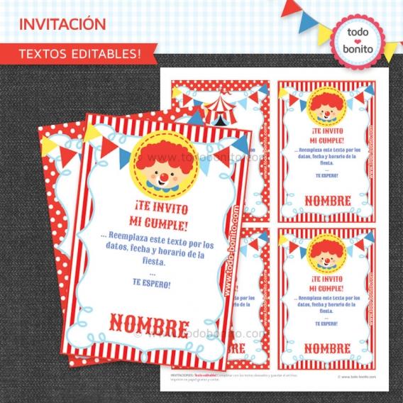 Invitacion imprimible Kit Circo Todo Bonito