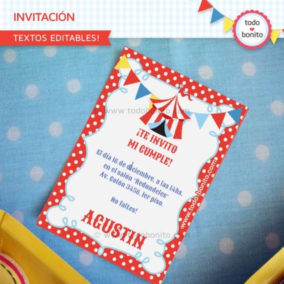 Tarjeta Invitacion Imprimible Kit Circo Niños Todo Bonito