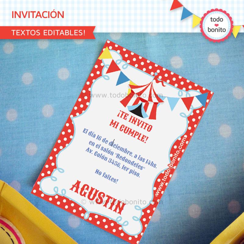 Invitación Kit imprimible Circo Niños Todo Bonito