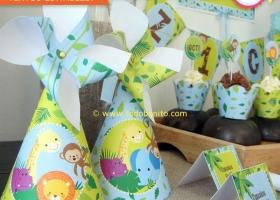 Gorritos de cumpleaños animales de la selva