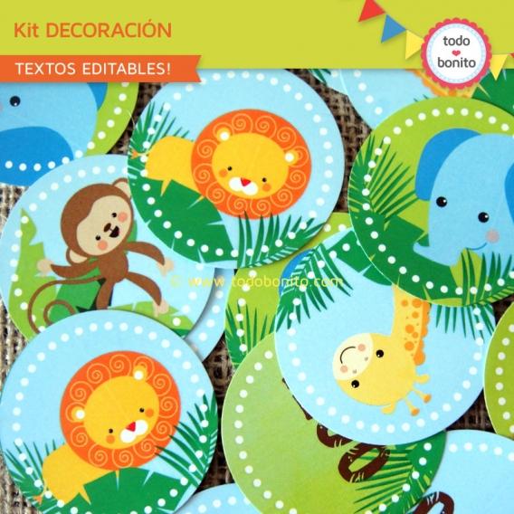 Circulos stickers animales de la selva