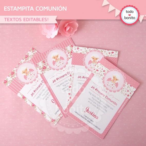 Estampita imprimible shabby chic rosa Todo Bonito