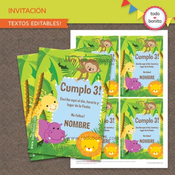 Invitación para imprimir animales de la selva