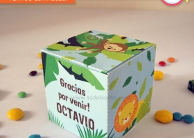 Cajita cubo animales de la selva para imprimir