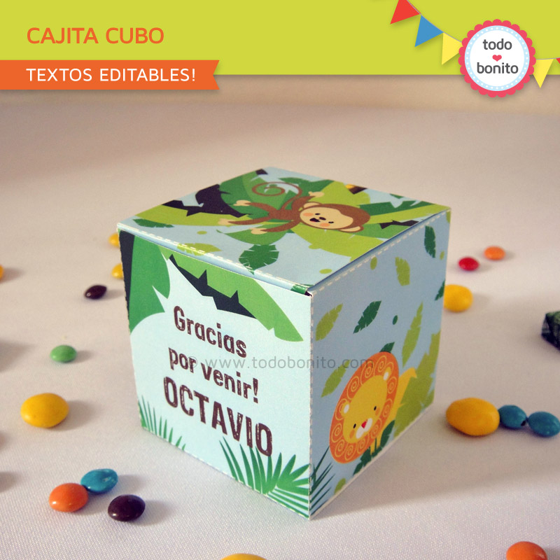 Kit imprimible de animales de la selva for Cajas personalizadas con fotos
