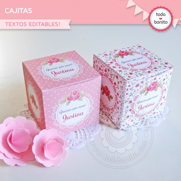 Cajitas del imprimible Shabby Chic rosado