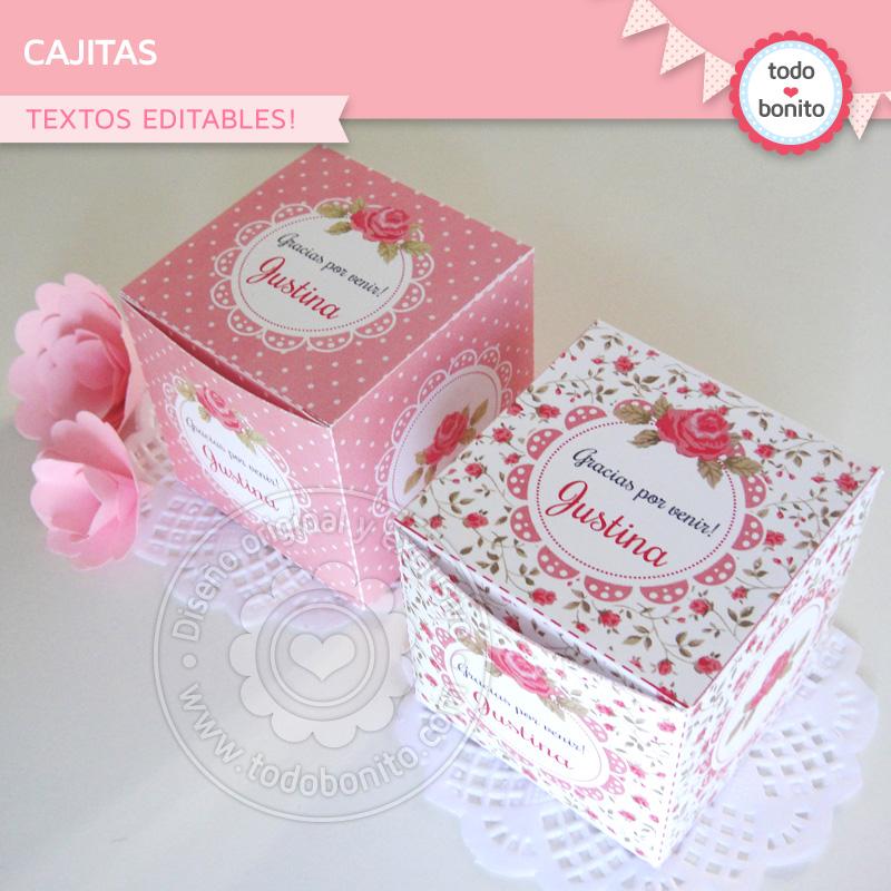 Cajitas shabby chic rosas