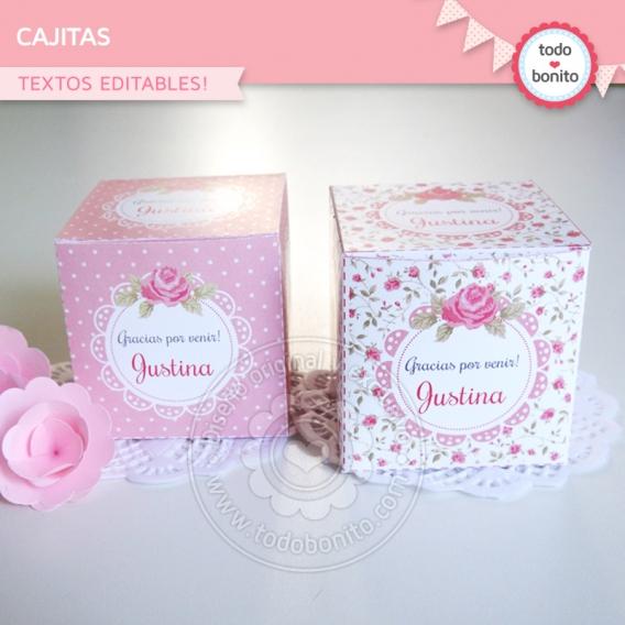 Cajitas imprimibles shabby chic Rosa Todo Bonito