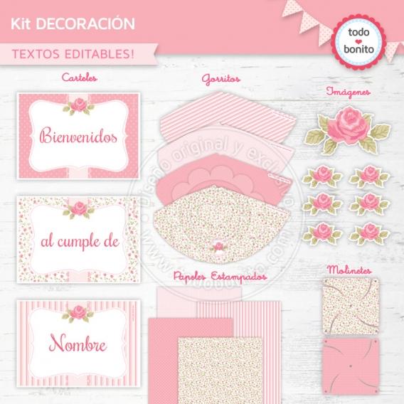 Kit de decoración Imprimible Shabby chic