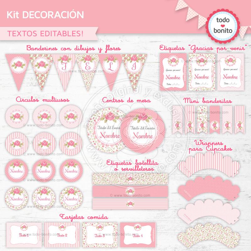 """Kit imprimible """"shabby chic"""" en rosa: blog.todobonito.com/kit-shabby-chic-rosa-imprimir"""