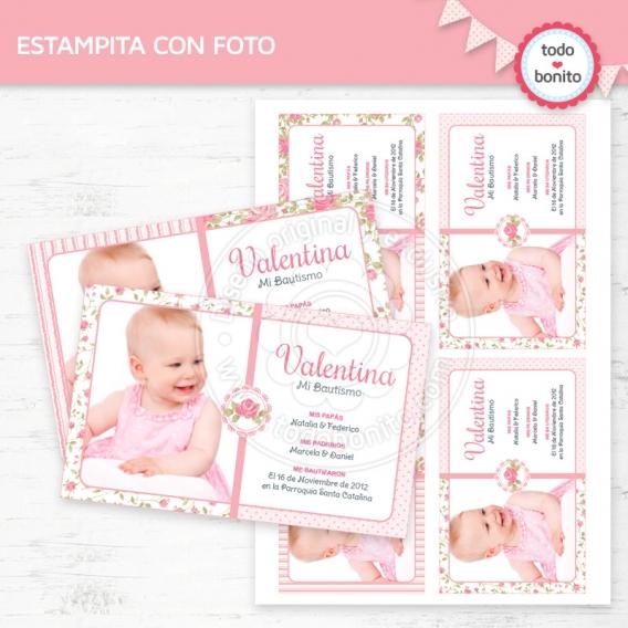 Estampita con foto imprimible shabby chic rosa Todo Bonito