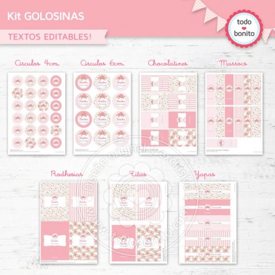Kit de Golosinas imprimibles Shabby Todo Bonito