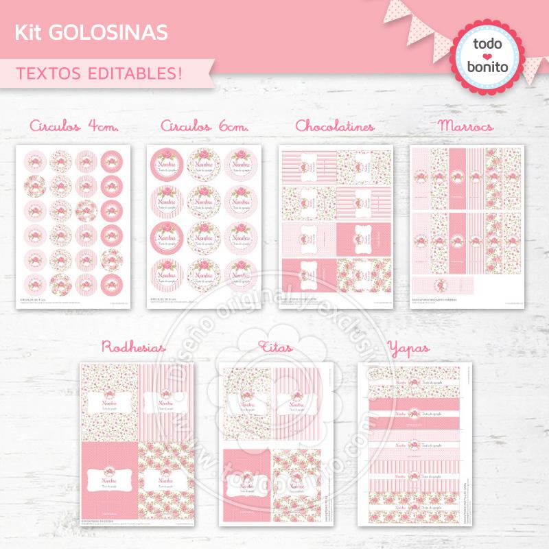 """Kit imprimible """"shabby chic"""" en rosa"""