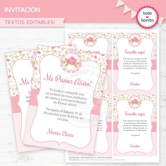 Invitación Imprimible shabby chic rosa Todo Bonito