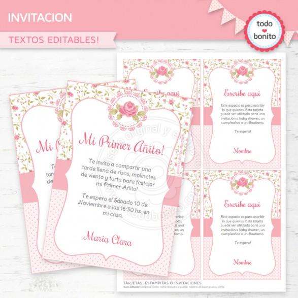 Invitación de shabby chic rosa