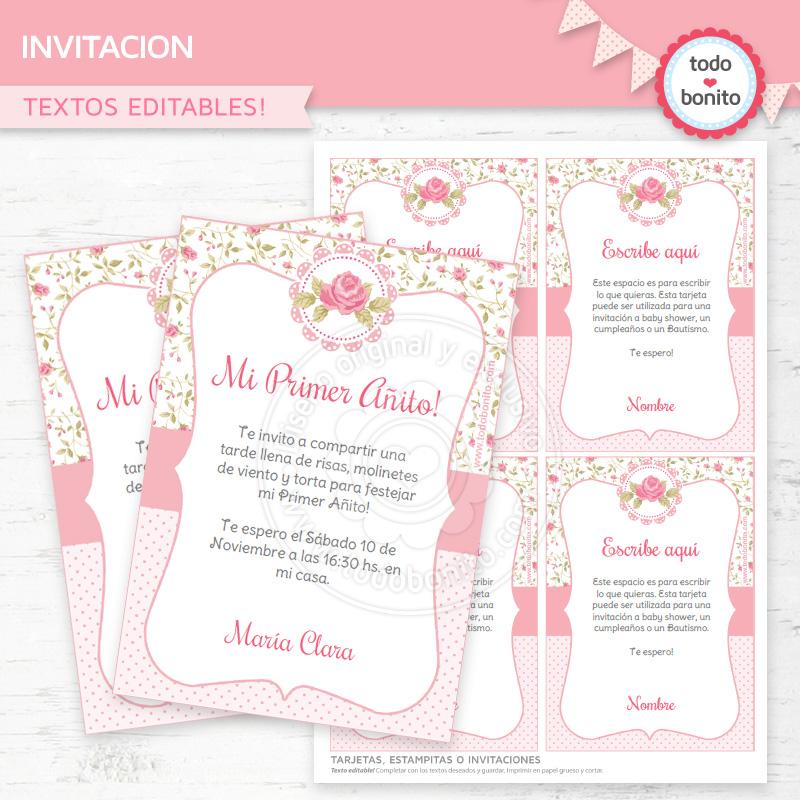 Invitacion shabby rosa