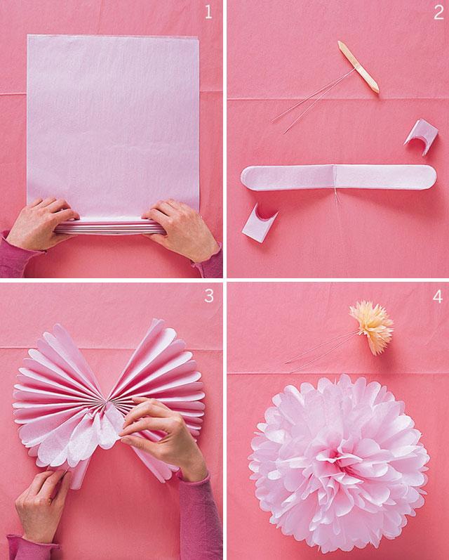 paso a paso pompones de papel de seda