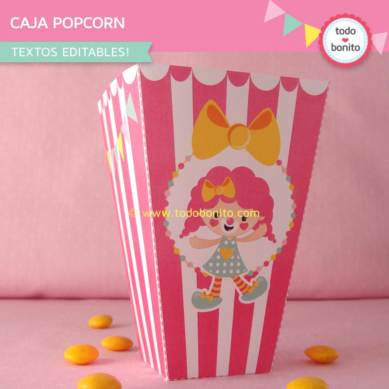 Cajita Popcorn con diseño circo en rosa de Todo Bonito