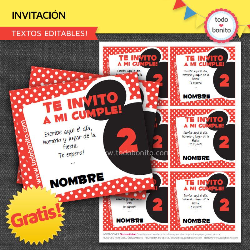 """Invitaciones para imprimir gratis """"inspiradas"""" en Mickey Mouse"""