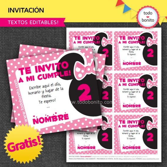 Invitaciones para imprimir gratis «inspiradas» en Minnie Mouse