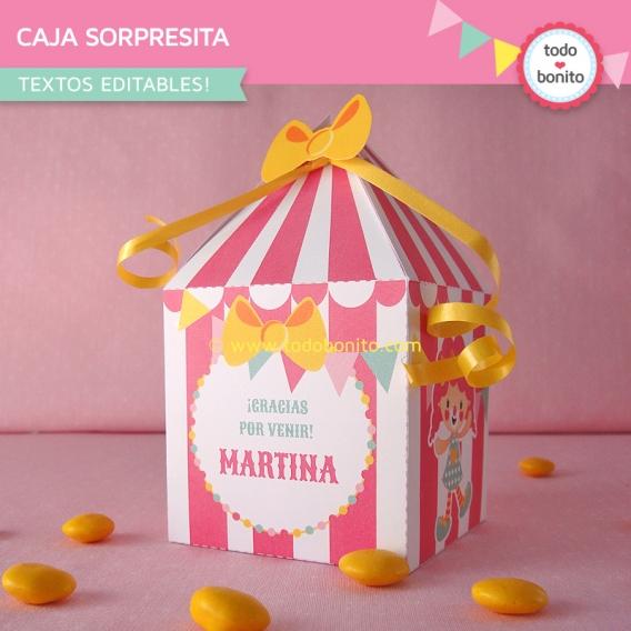 Caja sorpresita con diseño carpa de circo en rosa de Todo Bonito