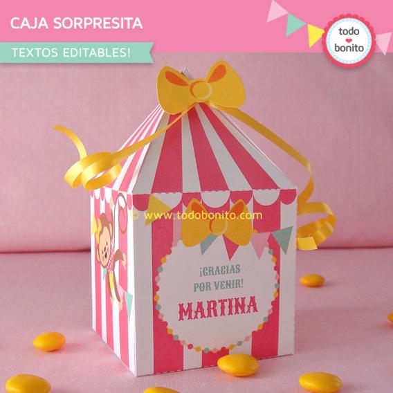 Caja para golosinas carpa de circo de niñas