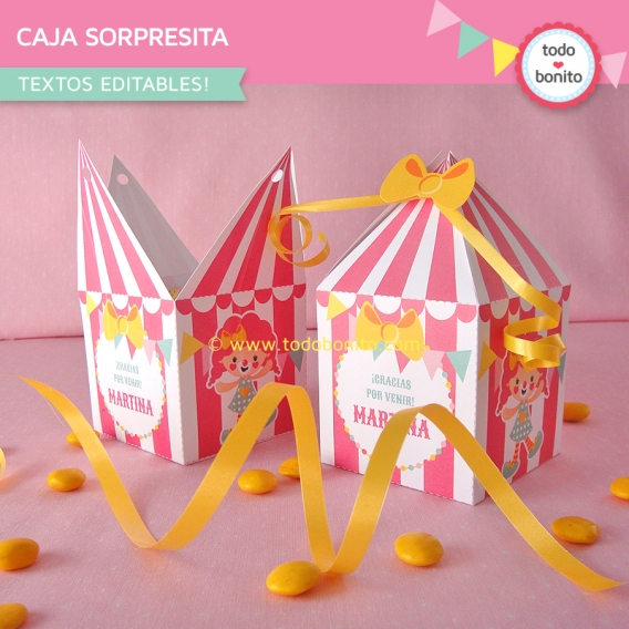 Caja sorpresita imprimible circo niña Todo Bonito