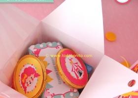 Caja para golosinas carpa de circo niñas