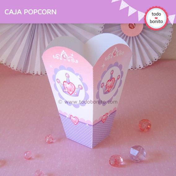 Imprimible Caja Pop Corn Princesas
