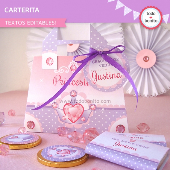 Imprimible Carterita Golosinera Princesas