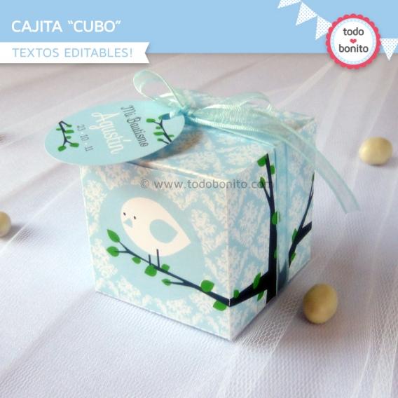 Caja Cubo imprimible Pajarito Celeste Todo Bonito
