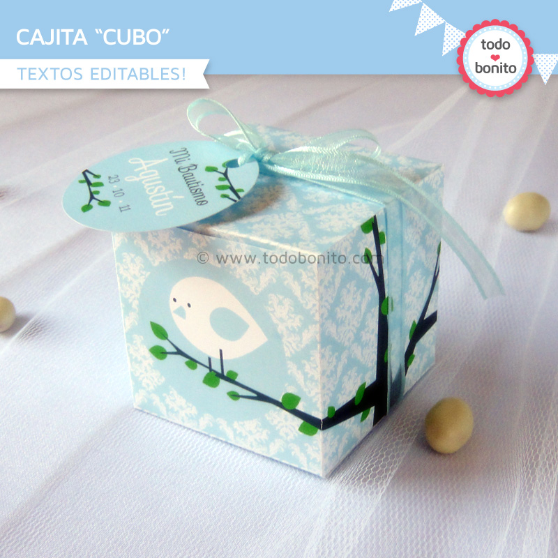 Kit imprimible pajarito celeste caja cubo