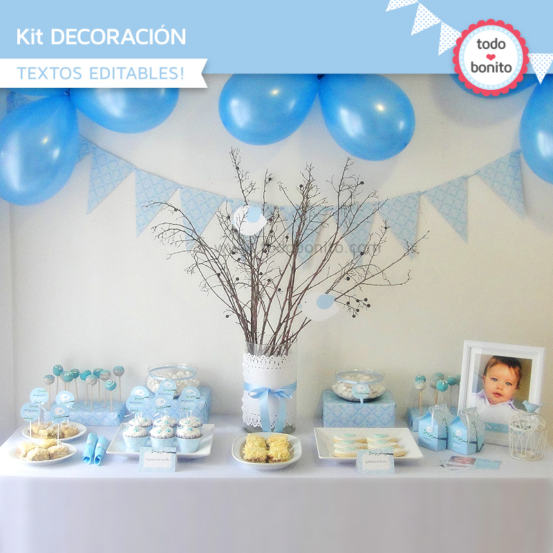 Kit decoración de pajarito celeste