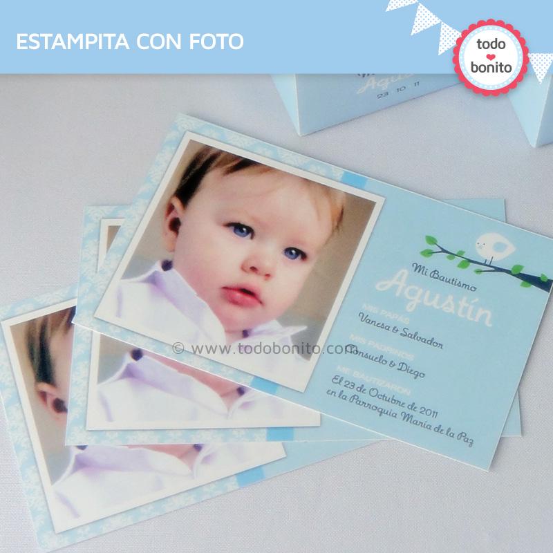Kit imprimible pajarito celeste tarjeta foto