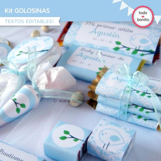 Kit Imprimible Golosinas Pajarito Celeste Todo Bonito