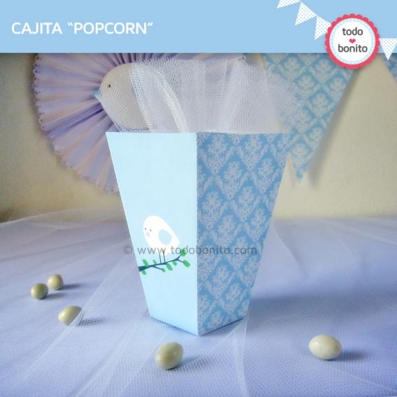 Caja PopCorn imprimible Pajarito Celeste Todo Bonito