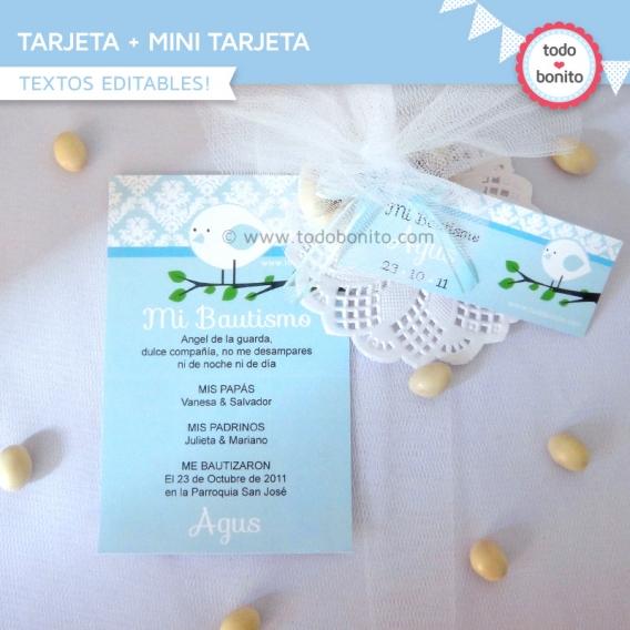 Tarjeta + mini tarjeta imprimible Pajarito Celeste Todo Bonito