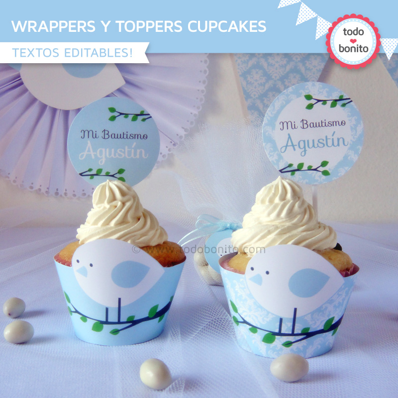 Kit imprimible pajarito celeste wrappers y toppers