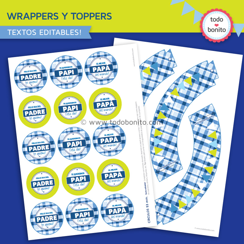 Wrappers y toppers dia del padre para imprimir