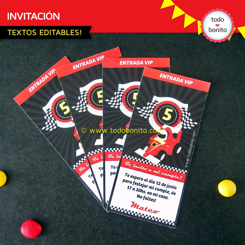 Invitaciones del imprimible autos de carrera