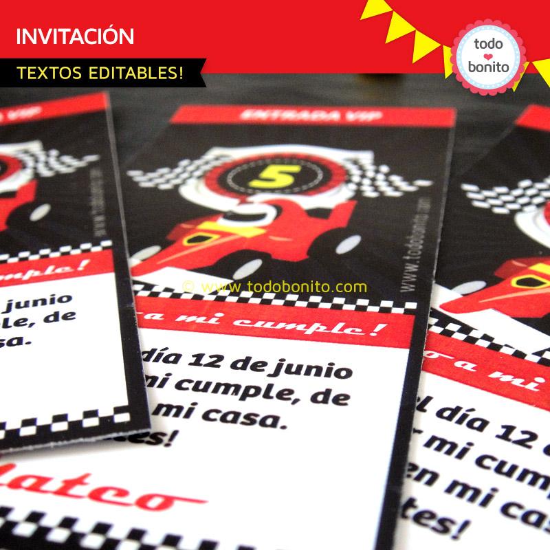Invitaciones del imprimible autos de carrera