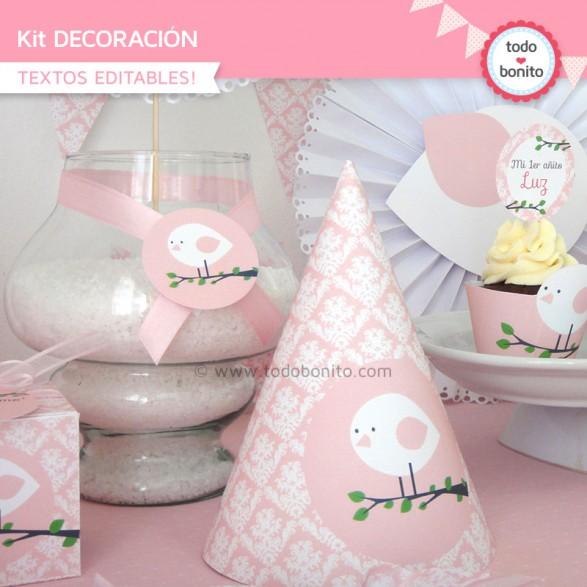kit imprimible pajarito rosa