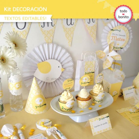 Kit decoración de pajarito bebe amarillo