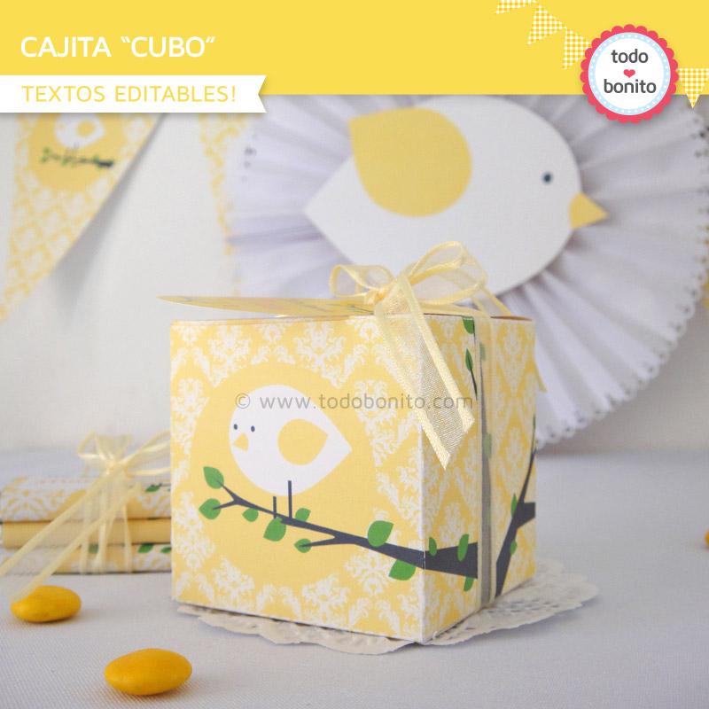 Cajita cubo de pajarito amarillo