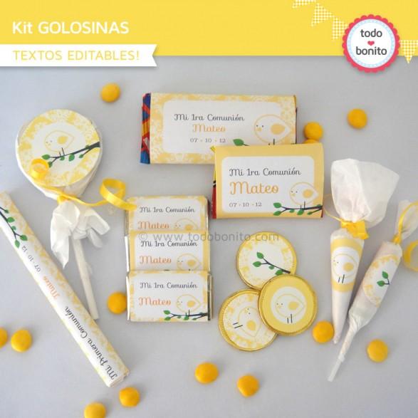 kit imprimible pajarito amarillo golosinas