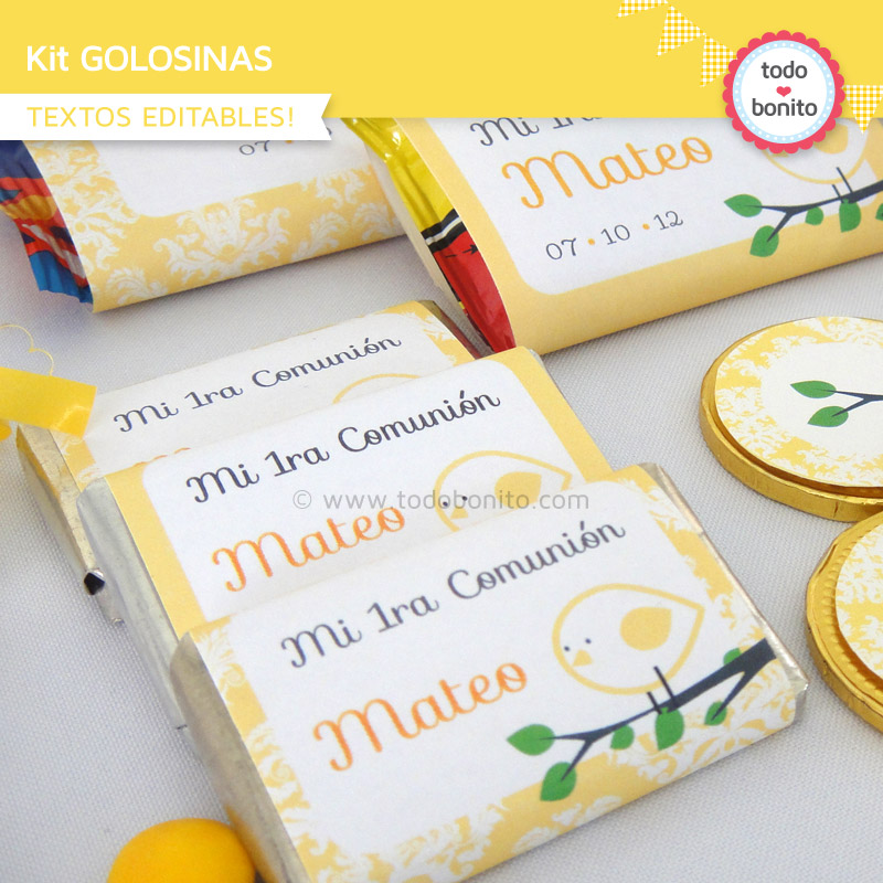 Etiquetas de golosinas de pajarito amarillo